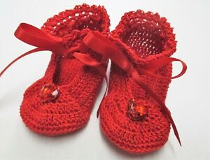 Handmade Thread Crochet Shoes for Baby-Little Lady Ruby Red-Available in 2 sizes