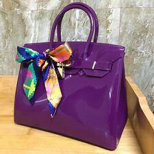 Dark Purple ! Women  Metal Buckle Candy Color PVC Jelly Handbag Plastic Tote Bag