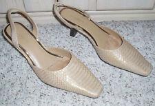 New~LIZ CLAIBORNE Flex 'Arpel' Leather Snake Pump Heels~Camel Gold ~Size 8 M
