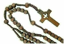 Catholic Confirmation Holy Spirit Dove Cross Wood Bead Cord Rosary, 18 Inches