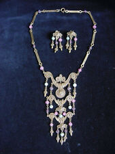 Vintage Byzantine Style Huge Runway Drippy Accessocraft Necklace w. Earrings