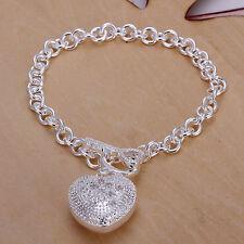 "Unisex Women's 925 Sterling Plated Silver Bracelet Chain 8"" L14"