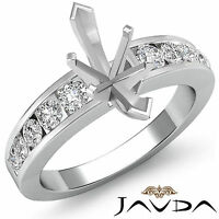 Diamond Engagement Marquise Semi Mount Ring Channel Setting 14k White Gold 0.7Ct