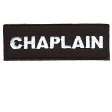 CHAPLAIN BLACK 1 X 3 CLUB EMBROIDERED BIKER PATCH