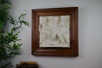 Antique 19th Century Painted Plaster Framed Plaque Of Fighting Cherubs In Relief