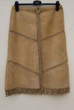 Tan Coloured Suede Knee Length Skirt Size 12