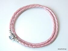 AUTHENTIC PANDORA BRACELET DOUBLE BRAIDED LEATHER PINK  #590705CMP-D2 38CM/7.5IN