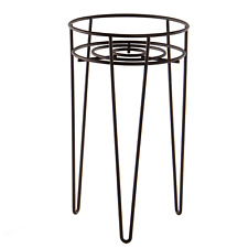 More details for metal flower pot stand wire plant pot holder with legs planter stand m&w black