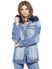 GUESS Jacket Women's Long Denim Jacket w- Removable Fur Collar XS/S Blue NWT