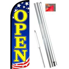 OPEN (Patriotic Yellow) Windless-Style Feather Flag Bundle 14' OR Replacement Fl