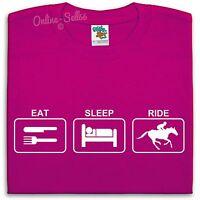 Eat Sleep Ride T Shirt Mens Womens Kids Riding Horse Rider Equestrian Stables