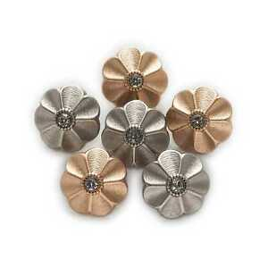 5pcs Shiny Retro Flower Metal Buttons Clothing Sewing Crafts Accessories Decor