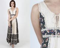 Vintage 70s Gunne Sax Navy Floral Crochet Lace Boho Hippie Corset Maxi Dress S