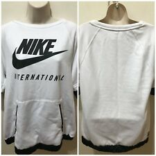 Nike International Womens White Sz M 3/4 Sleeve Sweatshirt $110 NWT w/DEFECT