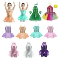 Kid Girl Lyrical Ballet Dance Dress Sequins Costume Tutu Skirt Dancewear Costume