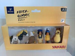 Yakari Radiergummi Figuren Rubber Toys 5 x Figur Blister mit Adler, Pferd, Bär
