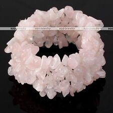 Natural Rose Quartz Chips Stone Bead Healing Cuff Stretchy Women Bangle Bracelet