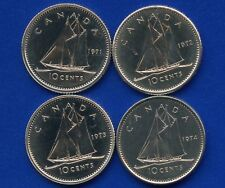 4 Canada Uncirculated 10 Cent Coins 1971 1972 1973 & 1974