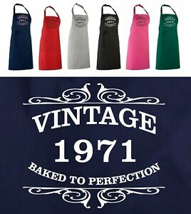 Funny 50th BIRTHDAY APRON, Vintage 1971, BAKED To Perfection OR ANY YEAR / WORDS