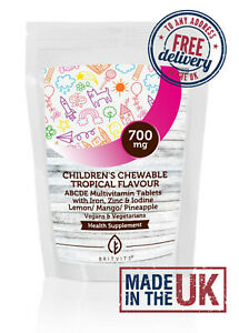 Children's Chewable Tropical ABCDE Kids Multivitamins Tablets ✔Made in UK