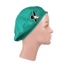 Ladies Teal Beret Hat With Hummingbird Accent Style Women's Trendy Cute Hat