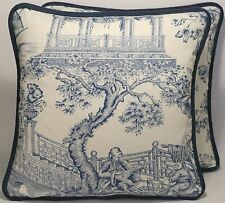 "2 18"" Williamsburg Toile Orientale Porcelain Blue Fabric Designer Throw Pillows"
