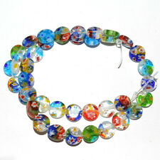 Lots 50Pcs 6mm  Mixed Flat Shape Millefiori Glass Beads Loose Space Beads Charms