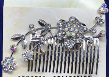 RHINESTONE FLORAL HAIR SIDE COMB, BEAUTIFUL DESIGN, NEW, USA SELLER, STYLE #1