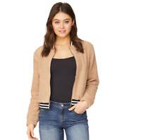 Women's Juniors' WallFlower Cozy Jacket Color: Sand, MSRP $60