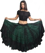 """25 Yard 40"""" Long Cotton 4 Tiered Skirt for Tribal Gypsy Belly Dance By WEVEZ"""