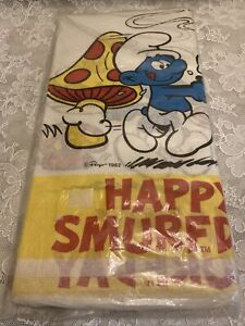 """SMURFS Happy Smurfday PAPER TABLE COVER Birthday Party Vintage Blue 1982 54""""x88"""""""