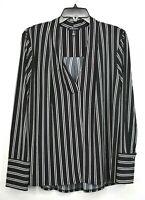 Kenneth Cole Women Black White Stripe Drape V-Neck Long Sleeve Tunic Shirt Top L