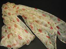 """New Fashion 100% Silk Scarf Shawl Wrap Floral Design 70"""" X 42"""" Beige"""