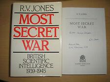 R.V.JONES-MOST SECRET WAR 1st/1st HB/DJ 1978 SIGNED, LINED, DATED. BRUNEVAL RAID