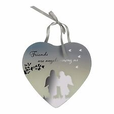 Friends are Angels Among Us Reflections from the Heart Mirrored Hanging Plaque