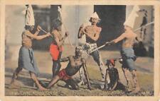 DEVIL DANCERS Calcutta, West Bengal, India c1910s Vintage Hand-Colored Postcard