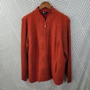 Carole Little Cardigan Sweater Jacket Plus Size 2X 18/20 Boucle Felted 100% Wool