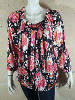 BURTON OF LONDON Taille 44 Superbe blouse manches courtes femme noir rose top