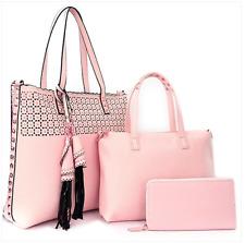 Handbag Pink Tassel Accent Gold Studded Laser Cut 3 in 1 XL Tote Satchel Wallet