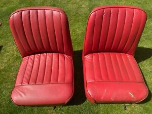 Pair of Classic Mini MK1 Front Seats in Red (Used)
