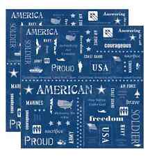 """Adorn It 12"""" x 12"""" All American Armed Forces Words Scrapbook Paper"""