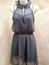 French Connection M Dress Blue Mini Eddie Flower Ruffled High Neck Sleeveless