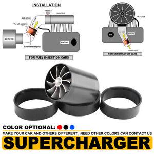"3"" Black Supercharger Cold Air Intake Turbonator Dual Gas Fuel Saver Fan Turbine"