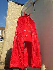 red fancy dress cloak with collar   crushed velvet  devil vampire 120cm