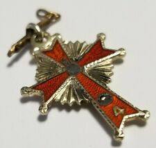 4th Degree (4th) Knights of Columbus 10k Gold and Enamel Cross Pendant Fob Charm