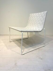 Mid Century Designer Style White Outdoor Trenza Lounge Chair by Andreu World