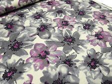 Stoff Jersey Blumen wollweiß flieder pink grau schwarz Kleiderstoff
