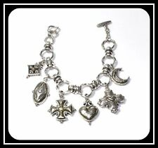 Brighton Vintage Silver Plated Large Link Toggle Charm Bracelet With Six Charms