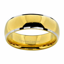 8mm Tungsten Gold Plated Dome Top Silver Edge Men's Jewelry Wedding Band Ring