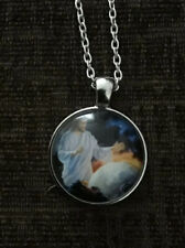 Jesus Cabochon Glass Necklace With A Silver Coloured Chain.